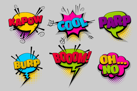 Comics speech bubble with dialog halftone dot background pop art style. Ilustrace