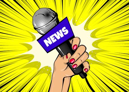 Dziennikarz kobieta moda w stylu pop-artu. Ręka trzyma mikrofon kreskówka wektor ilustracja. Wydajność retro plakat komiks. Rozrywka tło rastra. Z ostatniej chwili.