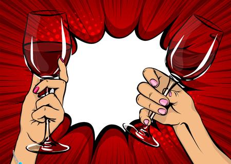 ポップアートの女性の手は、赤ワイングラスヴィンテージイラストを保持しています。