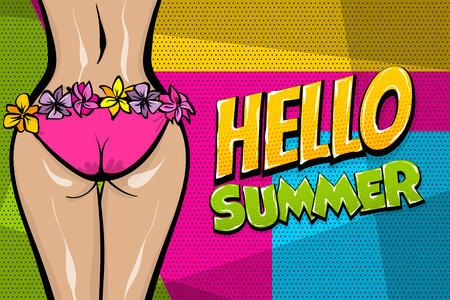 Hawaii woman pop art style retro poster. Hello summer vacation tropical banner. Comic text halftone vector. Wow female body booty in bikini. Hibiscus flover hula dancer. Sexy body.