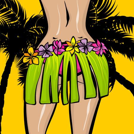 Hawaii woman pop art comic book background