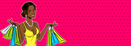 Pop art girl sale shopping bag Stock Illustratie