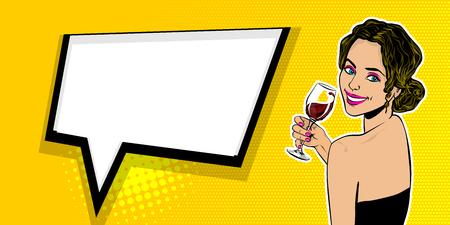Woman pop art speech bubble text advertise