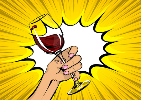 Pop art woman hand hold red wine glass vintage Illustration
