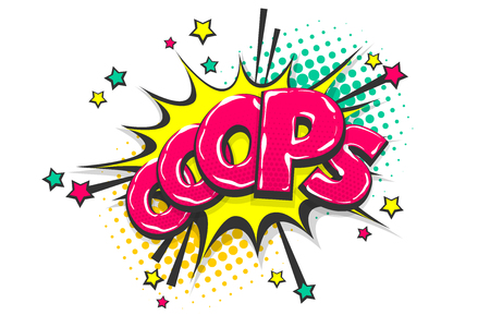 Omg ouch oops pop art comic text speech bubble Illustration