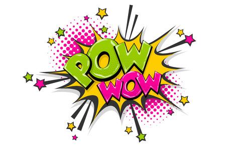 Pow gun wow comic text speech bubble. Colored pop art style sound effect. Halftone vector illustration banner. Vintage comics book poster. Colored funny cloud font.