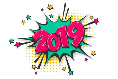 2019 jaar popart stripboek tekst tekstballon