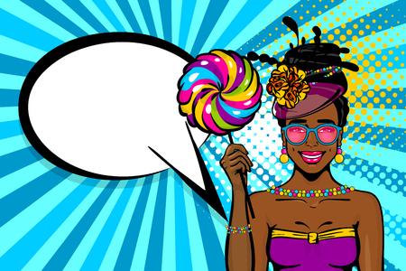 Pop art style woman speech bubble advertise