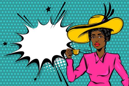 Black afro woman pop art drink tea