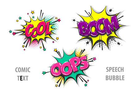 Set comic text speech bubble cool oops boom