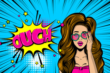 Ouch sexy brunette girl in glasses Stock Vector - 104026311