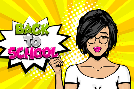 Back to school young girl pop art comic text