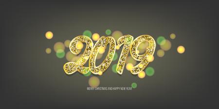 2019 vector magic golden confetti shimmer invintation. Holiday new year dark night background. Sparkle Christmas lights. Illustration