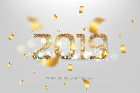 2019 vector magic golden confetty shimmer invintation. Holiday new year white background. Sparkle Christmas lights.