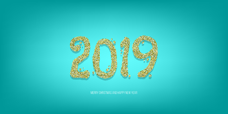 2019 vector magic golden confetti shimmer invintation. Holiday new year blue night background. Sparkle Christmas lights.