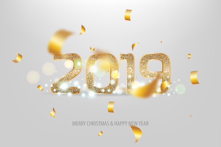 2019 new year golden banner Foto de archivo