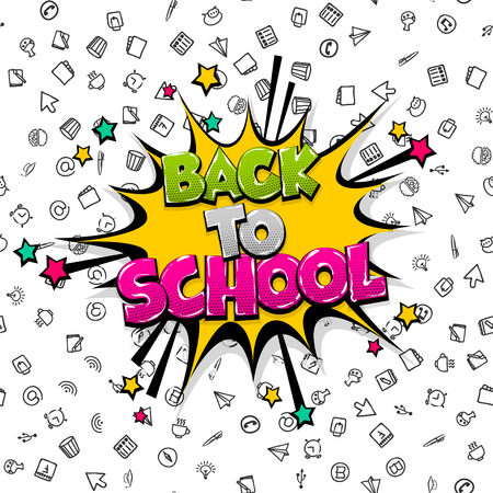 Back to school comic text pop art Stock Photo