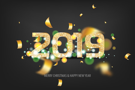 2019 vector magic golden confetti shimmer invintation. Holiday new year dark night background. Sparkle Christmas lights. Zdjęcie Seryjne - 111883462