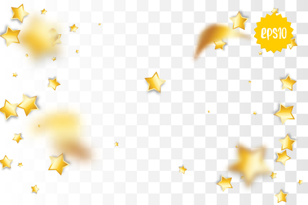 Random falling golden star glitter transparent sparkle background. Christmas banner, New Year greeting, invitation, postcard. Shimmer vector illustration. Illustration