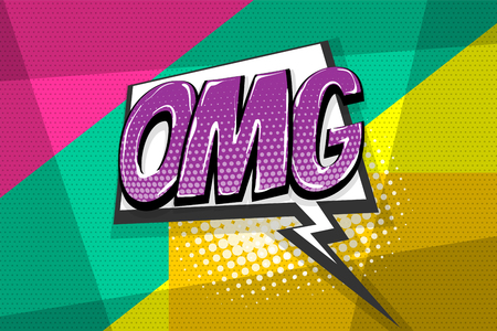 Omg ouch oops wow comic text speech bubble. Colored pop art style sound effect. Halftone vector illustration banner. Vintage comics book poster. Colored funny cloud font.