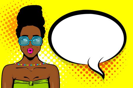 Black african-american young girl pop art