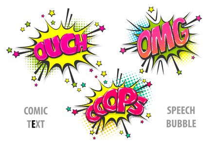 ouch, omg, oops pop art style set hand drawn sound effects template comics book text speech bubble. Halftone dot background. 일러스트