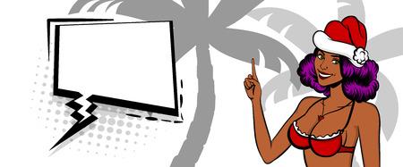 Christmas pop art black woman smile Vettoriali