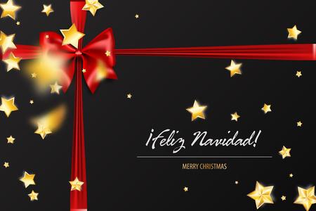 Feliz Navidad - Merry Christmas spanish greetings. Holiday Christmas red gift silk bow. Xmas textile decor. Realistic 3d vector illustration. Gold star shimmer random falling.