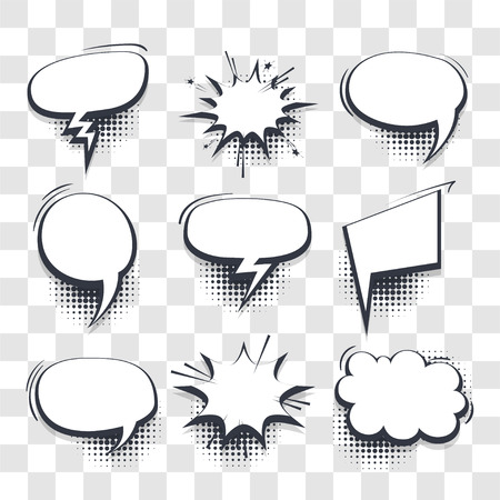 Big Set Hand gezeichnete leere Effekte Vorlage Comic Sprechblasen Halbton Punkt Vektor transparenten Hintergrund in Pop-Art-Stil. Dialog leere Wolke, Platz für Text. Kreativer Comic-Buch-Gesprächs-Chat