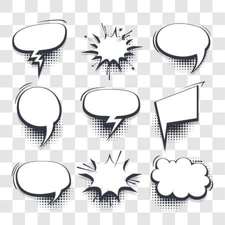 Gran conjunto de burbujas de discurso cómico de plantilla de efectos en blanco dibujados a mano fondo transparente de vector de punto de semitono en estilo pop art. Cuadro de diálogo nube vacía, espacio para texto. Charla de conversación de libro de cómics creativos