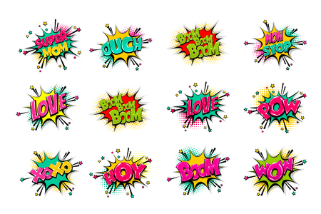 Comic text WOW, boom, bang collection sound effects pop art style. Set vector speech bubble with word phrase cartoon expression illustration. Comics book colored background template. Ilustracja
