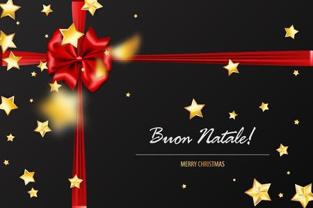 Buon Natale - Merry Christmas italian greetings. Holiday Christmas red gift silk bow. Xmas textile decor. Realistic 3d vector illustration. Gold star shimmer random falling