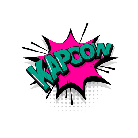 Kapow comic text collection sound effects pop art style. Set vector speech bubble with word and short phrase cartoon expression illustration. Comics book colored background template.