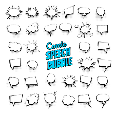 Big set hand drawn monochrome blank effects template comic speech bubbles halftone dot vector background in pop art style. Dialog empty cloud, space for text. Creative comics book conversation chat Illustration