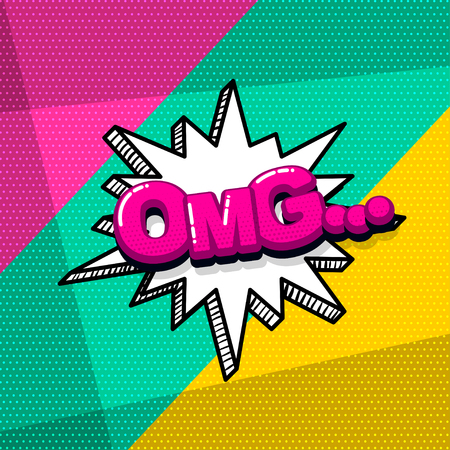 omg ouch oops comic text sound effects pop art style. Vector speech bubble word and short phrase cartoon expression illustration. Comics book colored background template.