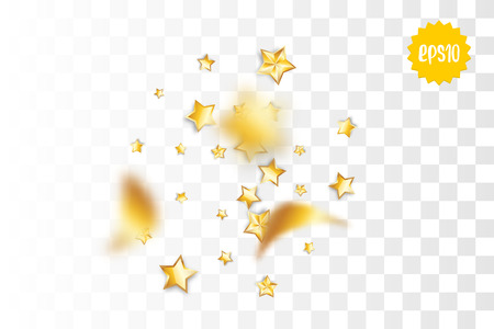 Random falling golden star glitter transparent sparkle background. Christmas banner, New Year greeting, invitation, postcard. Shimmer vector illustration. Ilustração