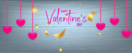 Valentines Day wood 3d vector background. Wooden blue texture, pink heart with golden serpentine confetti and hearts. Top view realistic design. Illustration