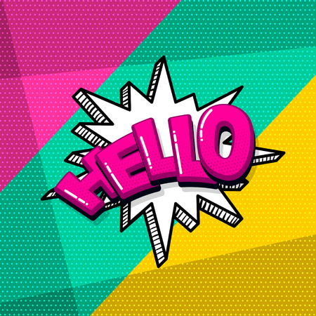 Hello hi comic text sound effects pop art style. Vector speech bubble word and short phrase cartoon expression illustration. Comics book colored background template. Banque d'images - 125227568