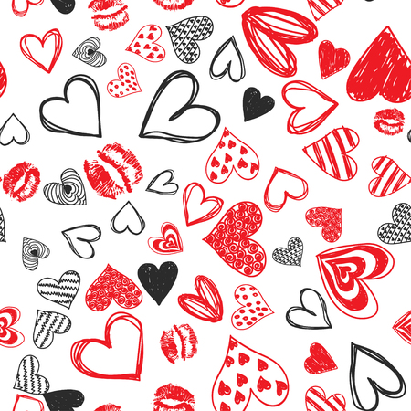 Doodle love heart Valentines Day seamless pattern. Textile wrapping holiday design. Wedding romantic sketch background. Banque d'images - 125227573