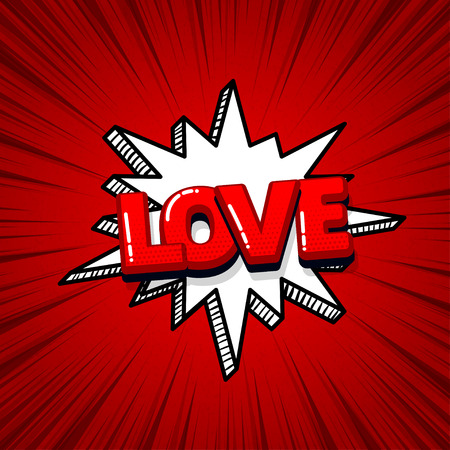 Love Valentines day comic text sound effects pop art style. Vector speech bubble word and short phrase cartoon expression illustration. Comics book colored background template. Banque d'images - 125227576