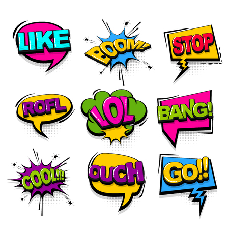 Cool bang go comic text collection sound effects pop art style. Set vector speech bubble with word and short phrase cartoon expression illustration. Comics book colored background template. Banque d'images - 125227579