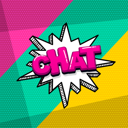 Chat message comic text sound effects pop art style. Vector speech bubble word and short phrase cartoon expression illustration. Comics book colored background template.  イラスト・ベクター素材