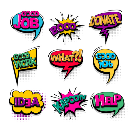 Donate good job work comic text collection sound effects pop art style. Set vector speech bubble with word and short phrase cartoon expression illustration. Comics book colored background template.