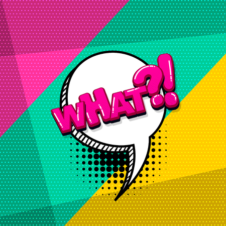 What question comic text sound effects pop art style. Vector speech bubble word and short phrase cartoon expression illustration. Comics book colored background template.