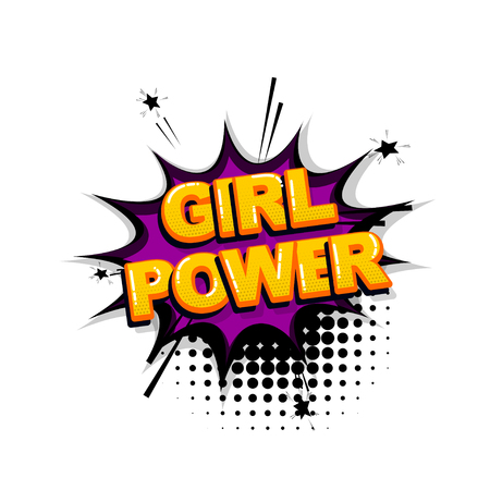 Girl power comic text sound effects pop art style. Vector speech bubble word and short phrase cartoon expression illustration. Comics book colored background template. Banque d'images - 124886616