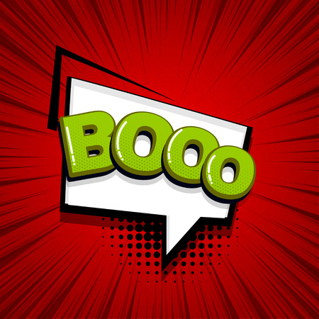 Boo scare halloween comic text sound effects pop art style. Vector speech bubble word and short phrase cartoon expression illustration. Comics book colored background template. Banque d'images - 124886617