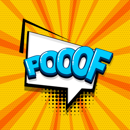 Poof comic text sound effects pop art style. Vector speech bubble word and short phrase cartoon expression illustration. Comics book colored background template. Banque d'images - 124886619