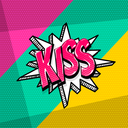 Kiss, love xoxo valentines day comic text speech bubble. Colored pop art style sound effect phrase. Halftone vector illustration banner. Vintage comics book poster. 向量圖像