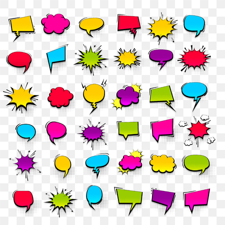 Gran conjunto dibujado a mano de colores plantilla de efectos en blanco discurso cómico burbujas fondo de vector de punto de semitono en estilo pop art. Cuadro de diálogo nube vacía, espacio para texto. Charla de conversación de libro de cómics creativos