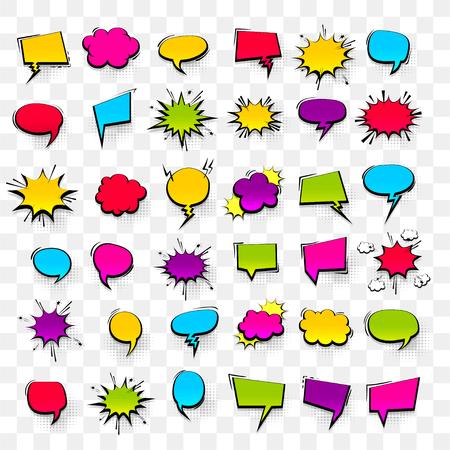 Grande set disegnati a mano colorati effetti in bianco modello fumetti fumetti punti mezzatinta sfondo vettoriale in stile pop art. Finestra di dialogo nuvola vuota, spazio per il testo. Chat di conversazione di fumetti creativi